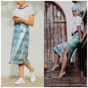 Anthropologie Maeve Palette Sequined Midi Skirt